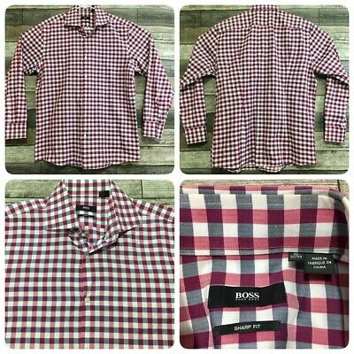 $14.99 • Buy Hugo Boss Sharp Fit Plaid Button Front Men's 16 32/33 Red & Gray (Modified)