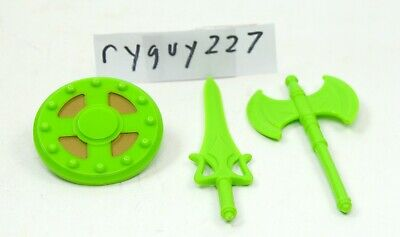 $20 • Buy MOTUC, Green Weapons, Masters Of The Universe Classics, Parts, Shield, Sword, Ax