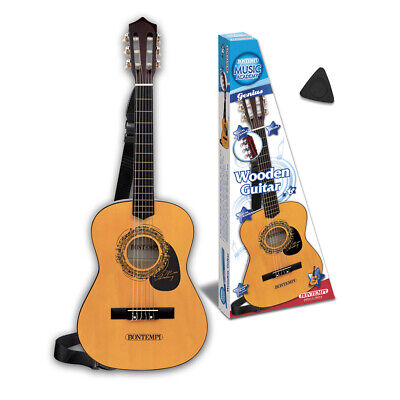 Bontempi 3/4 Size Six String Natural Acoustic Guitar With Strap For Children • 52.49£