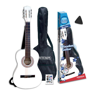 Bontempi 3/4 Size Six String White Acoustic Guitar With Strap Bag For Children • 53.99£