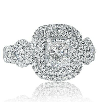 $ CDN4480.76 • Buy 2 Carat Radiant Cut Pear Side Diamond Engagement Halo Ring 18k White Gold