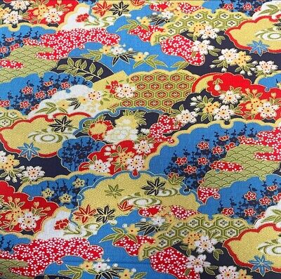 £6.50 • Buy Japanese Metallic Cherry Blossom 100% Cotton Fabric Material BY HALF METRE W 150