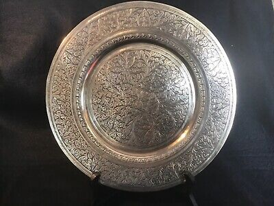 Vintage Indian Engraved Brass Plate Or Charger • 30£