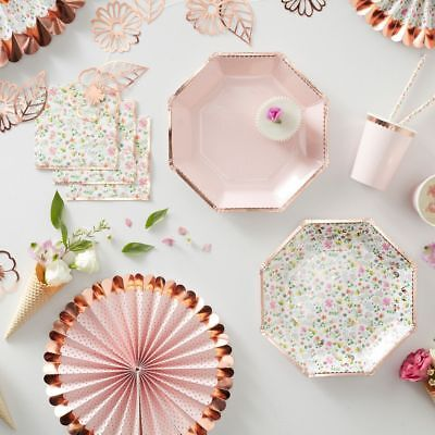 £4.95 • Buy Ditsy Floral Pink & Rose Gold Party Tableware - Birthday, Wedding, Baby Shower