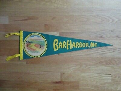 $125 • Buy Vintage 60s BAR HARBOR MAINE Stitched On The Scenic Cadillac MT Road 26  Pennant