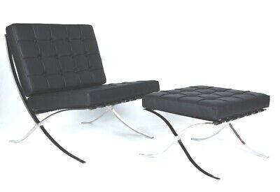 Modern Harter BARCELONA CHAIR Black LEATHER WITH STOOL • 500£