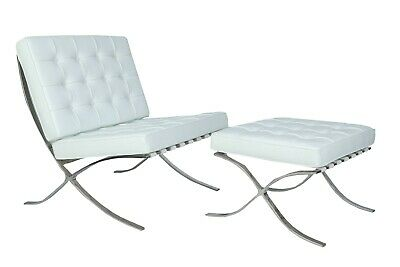 Modern Harter BARCELONA CHAIR  WHITE LEATHER WITH STOOL • 500£