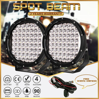 AU129.88 • Buy Black Pair OSRAM 9  LED Spot Driving Lights Round Offroad Truck Work Headlights