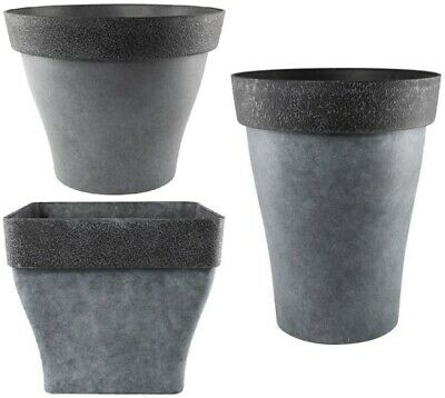 Grey Large Plant Pot Round Square Tall Plastic Planter Outdoor Garden Tree • 16.99£
