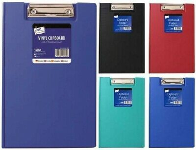 A4 Vinyl Clipboard - Fold Over Cover File Holder Folder Wallet Clip Board Strong • 3.29£