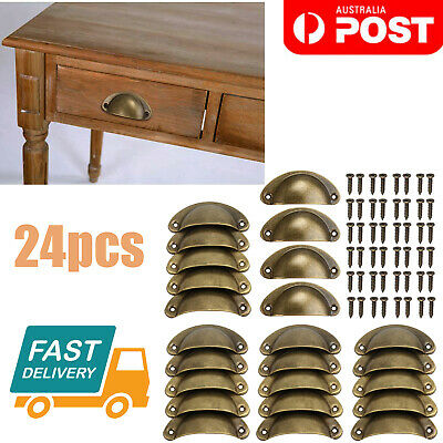 AU20.85 • Buy 24X Cupboard Door Cabinet Cup Drawer Kitchen Furniture Antique Pull Shell Handle