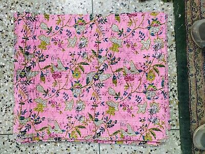 Indian Pink Cotton Kantha Quilt Bedding Bedspread Blanket King Size Floral Ralli • 39.99£