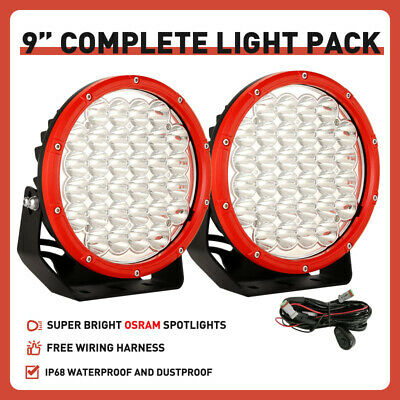 AU108.98 • Buy NEW Pair 9 Inch OSRAM Round LED Driving Lights Spot RED OffRoad Truck Headlights