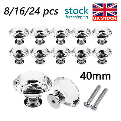 8/16/24Pcs 40MM Crystal Glass Door Knobs Drawer Cabinet Furniture Kitchen Handle • 7.99£