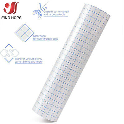 Adhesive Vinyl Transfer Paper Tape Roll Clear W/Blue Alignment Grid 30*100cm DIY • 2.39£