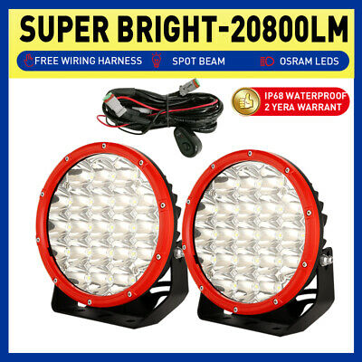 AU85.98 • Buy 7 Inch RED Round Spotlights LED Driving Work Lights OSRAM Spot Flood Lamps Truck