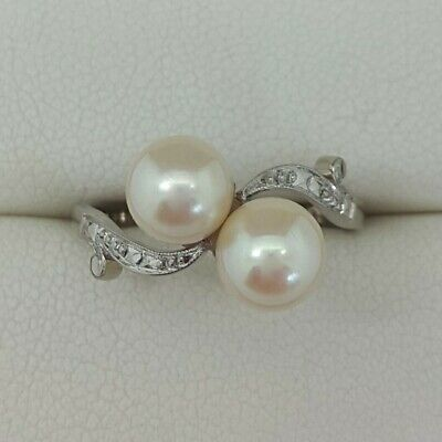 Vintage Pearl 2 Stone Twist Ring In 18ct White Gold Finger Size J • 295£