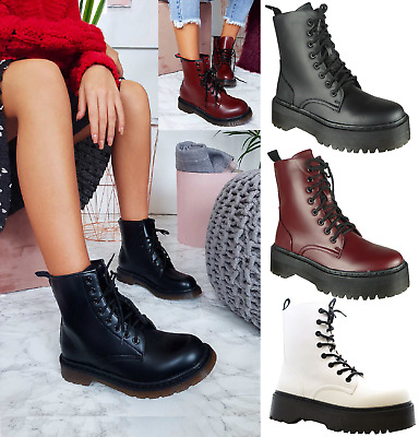 Ladies Womens Low Heel Block Ankle Combat Fashion Chunky Lace Up Boots Size 3-8 • 22.95£