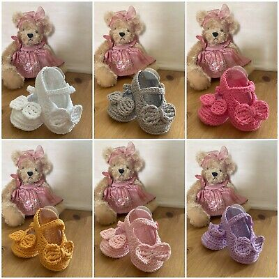Handmade Crochet Knitted Newborn Baby Girls Booties Bow Mary Jane Shoes 3 Sizes • 4.85£