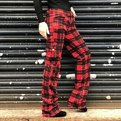 Checked Wide Cargo Pants Red Long Leg Tartan Combat Trousers Made In The UK • 31.50£