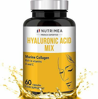 Pure Hyaluronic Acid & Marine Collagen Anti-Wrinkle / Ageing 60 Capsules 1 Month • 19.95£