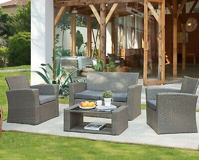 £349.99 • Buy Rattan Garden Furniture Set 4pc Outdoor Table Chair Sofa Conservatory Patio