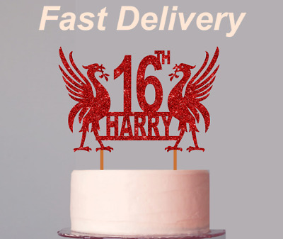 *Sale* Personalised Liverpool Glitter Cake Topper - Fast Delivery • 4.49£