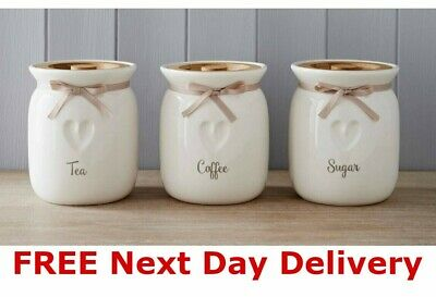 Tea Coffee Sugar Ceramic Canisters Engrave Heart Kitchen Storage Jars Set Of 3 • 20.99£