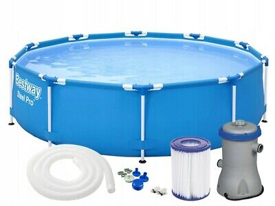 6in1 GARDEN SWIMMING POOL 305 Cm 10FT Round Frame Above Ground Pool + PUMP SET • 229£