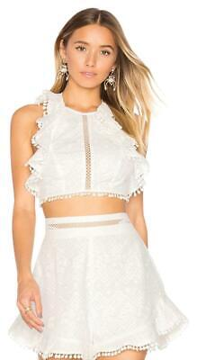 $150 • Buy NWT ZIMMERMANN Caravan Broderie Anglaise Halter Cotton Crop Top In White 0 XS