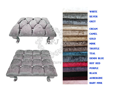 £37.95 • Buy Chesterfield Cube Footstool Crushed Velvet Queen Anne Style Legs 15 Colours