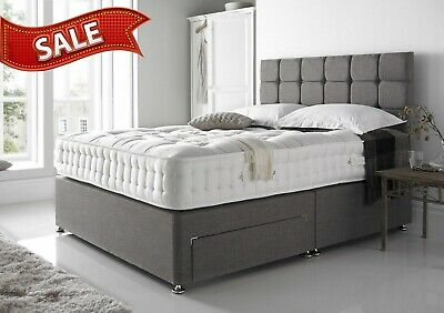 Grey Suede  - Divan Bed Base - Small Double King  - Drawers Storage - Headboard • 149£
