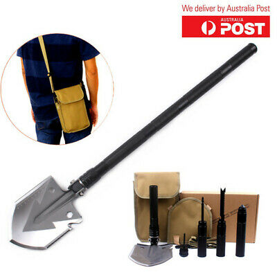 AU42.98 • Buy Folding Camping Shovel 6 In 1 Multi Functional Survival Tool For Outdoor (Black)