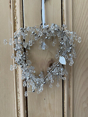 Small Hanging Heart With Crystals Leaves And Beads Shabby Chic Wedding Love • 10.50£