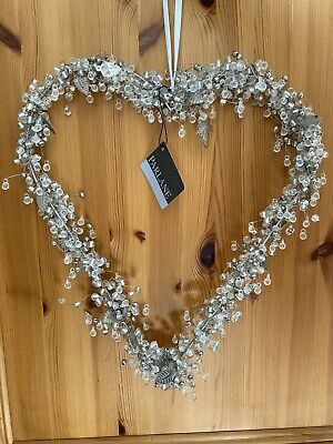 Large Hanging Heart With Crystals Leaves And Beads Shabby Chic Wedding Love • 29.99£