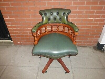 £295 • Buy A Yew Wood Green Leather Chesterfield Captains Chair **DELIVERY AVAILABLE**