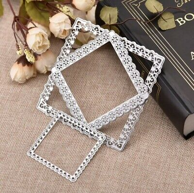 Lace Square Background Metal Cutting Dies For Sizzix Spellbinders Ect Machines • 6.99£