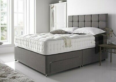 New Chenille Divan Bed Base - Storage Drawers - Cube Headboard - Double - King • 170.10£