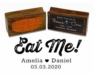 £13.99 • Buy Printtoo Personalized Wedding Favor Round Wood Mounted Stamp Eat Me-WF-PSW773A