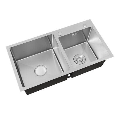 £109.95 • Buy Stainless Steel Double Bowl Kitchen Sink 2.0 Bowls SINK Drainer Waste Kit Set