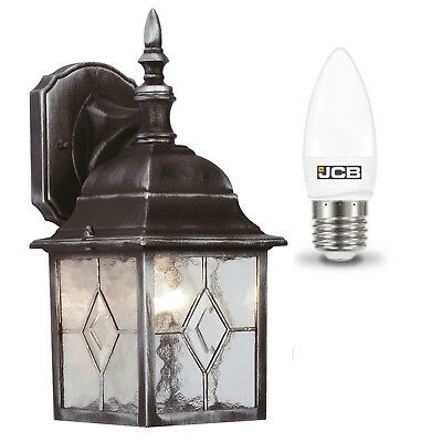 Outside Traditional Lead Effect Wall Lantern Light Fitting With LED Light Bulb • 4.97£