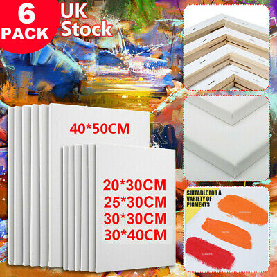 (pack Of 6) Artist Blank Plain Stretched Painting Art Acrylic Canvas 50 X 40cm • 18.35£