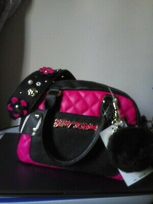 $ CDN92.26 • Buy Betsey Johnson Guitar Strap Mini Faux Leather Pink/Black Handbag NWT