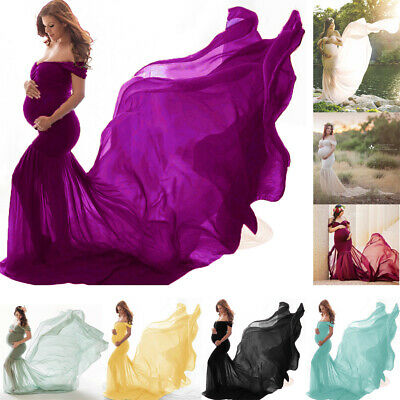 AU51.65 • Buy Maternity Pregnant Womens Off Shoulder Dress Photography Props Long Maxi Gown