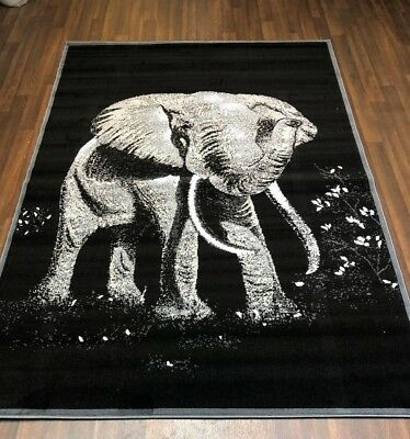 £29.99 • Buy Top Quality Bargain Rugs Black-grey Approx 6x4ft Best Around Stunning Elephant