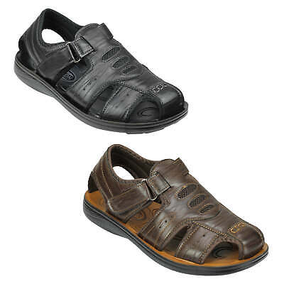 Mens Leather Cross Strap Sports Sandals Closed Toe Summer Beach Gladiator Shoes • 19.99£