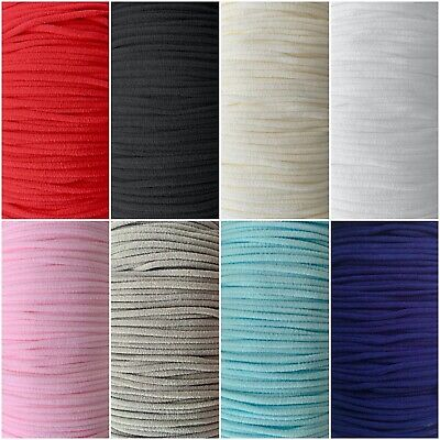 Super Soft Round Elastic String Cord White 3mm - Ideal For Face Masks, Hats, Etc • 2.99£