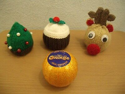 Knitting Pattern For Christmas Tree,  Pudding & Reindeer Chocolate Orange Covers • 3.45£