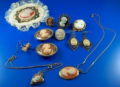 $ CDN54.29 • Buy Vintage Costume Cameo Pins Necklaces Earrings Rings Estate Jewelry Lot