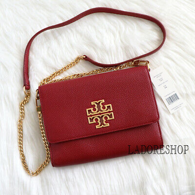 $169.99 • Buy NWT Red Tory Burch Pebbled Leather Britten Chain Wallet Crossbody Hand Bag 60412